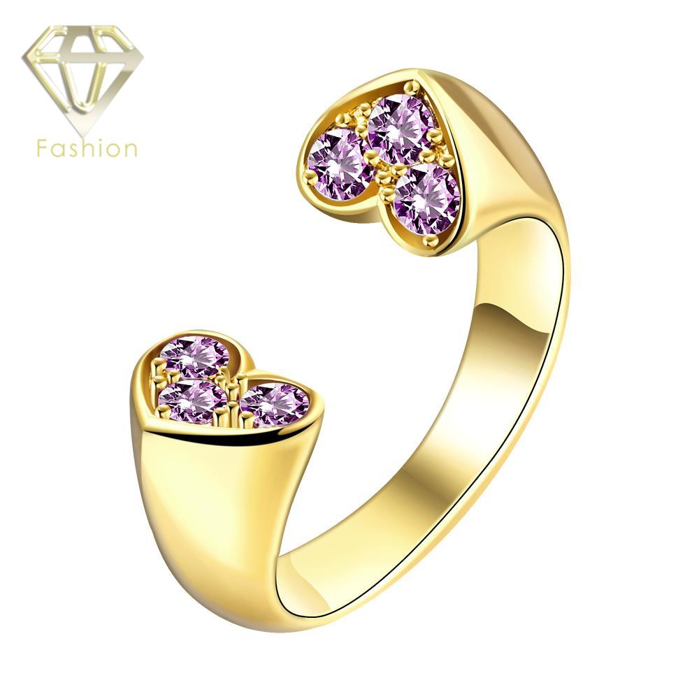 Romantic Rose-gold/Gold Color Open End Double Hearts Prong Setting Brilliant Cut CZ Wedding Ring Jewelry