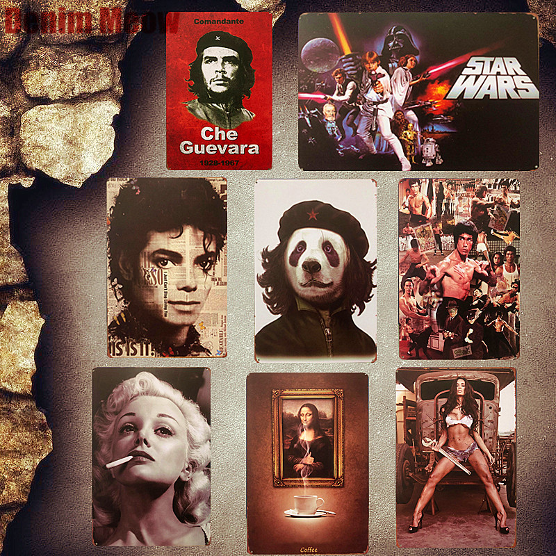 Cinema Celebrity Plaques Vintage Metal Tin Signs Michael Jackson Wall Stickers Bar Club Cafe Decoration Plates Home Decor MN89