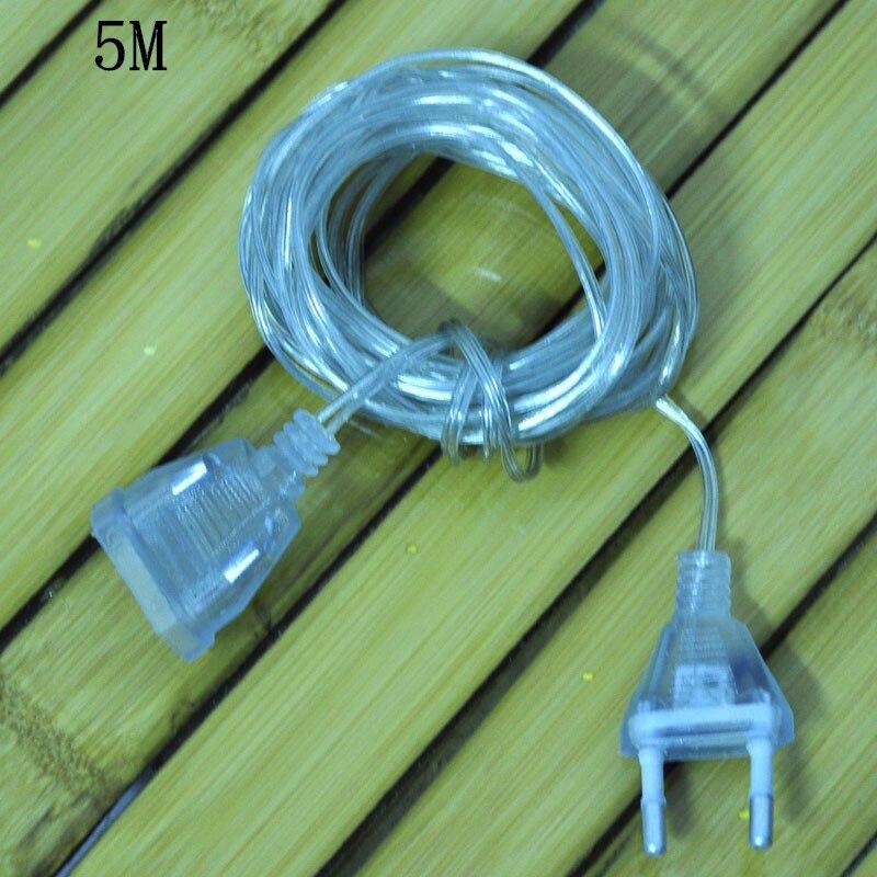 5M Extender Transparent Wire EU Plug for Christmas Led String light ...
