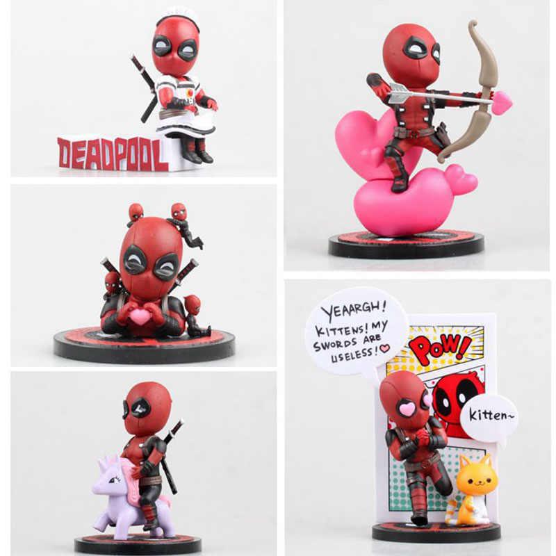 Estilo Bonito X-Men Herói Deadpool 5 Quebrado a 4th Parede Cupido Empregada Sonho Kitten Encaixotado 9-14 cm PVC Action Figure Modelo Boneca Brinquedos de Presente