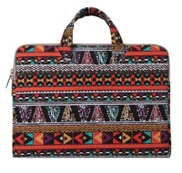 Mosiso Bohemian Style Rub Resistance Zipper 11 Inch Canvas Fabric Women Briefcase Carry Case For Macbook