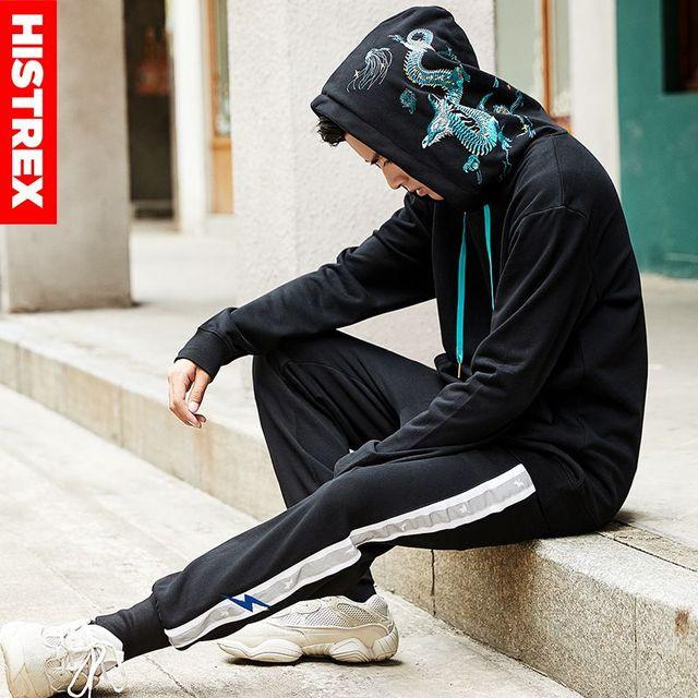 100 baumwolle HISTREX Hoodie Männer 2019 Japanischen Stil Stickerei Chinesischen Drachen Harajuku Hip Hop Hoody Sweatshirt Streetwear Herren