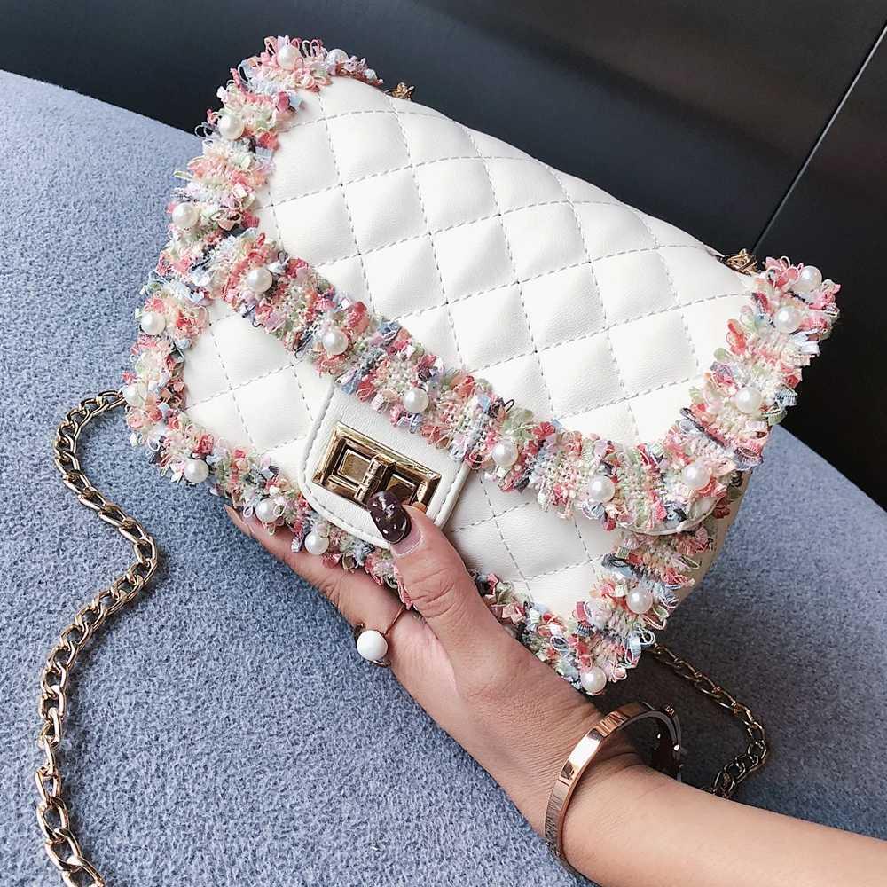 15f05ab64e70 Национальная Бохо мини летняя сумка женская 2018 Auntumn новая клетчатая  сумка-мессенджер модная сумка-