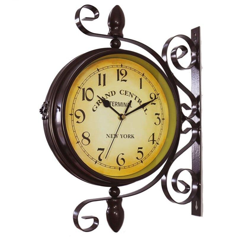 الأوروبية المطاوع الحديد العتيقة الوجهين ساعة الحلي المنزل مكتب ديكور الحرف جدار جولة ساعة للتدوير الصامتة ساعة هدية-في ساعات الحائط من المنزل والحديقة على  مجموعة 1