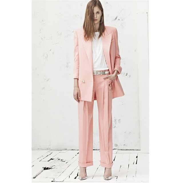 CUSTOM MADE pink 2 piece set women business suit formal office ...