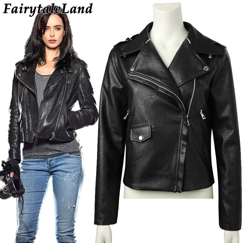 Jessica Jones Cosplay Costume TV show Superhero Jessica Jones Jacket Carnival Halloween costume Fashion black leather jacket leather jacket