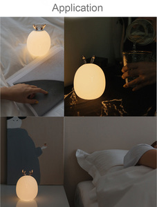 Image 5 - Deer Rabbit LED Night Light Silicone Animal Cartoon Dimmable Lamp USB Rechargeable For Children Kids Baby Gift Bedside Bedroom
