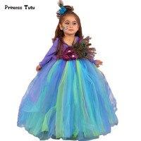 Handmade Dziewczyny Feather Peacock Długi Puszysty Tulle Tutu Dress Kid Party Tutu Flower Girl Ślub Urodziny Halloween Costume 1-14Y