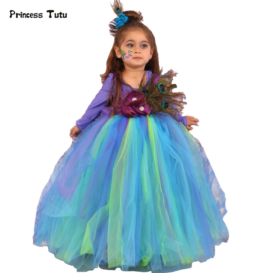 cheap peacock dress handmade girls feather peacock long fluffy tulle tutu 9334