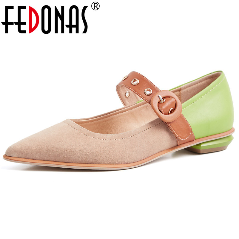 FEDONAS Fashion Sexy Women Suede Leather High Heels Pumps Pointed Toe Buckles Party Wedding Shoes Woman
