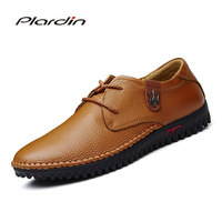 Plardin Genuine Leather Men Shoes High Quality Lace Up Casual Shoes Men Summer Stylish Daily Oxford Flats Fashion Men Shoes