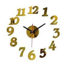 new 3d diy acrylic mirror stickers clock watch wall clocks horloge large decorative living room quartz needle