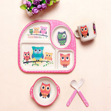 Baby Feeding Food Tableware Set Children Bamboo Fiber Plate Dish Bowl Fork Spoon Cup Cute Dinnerware Set For Kids Safe Material(China)
