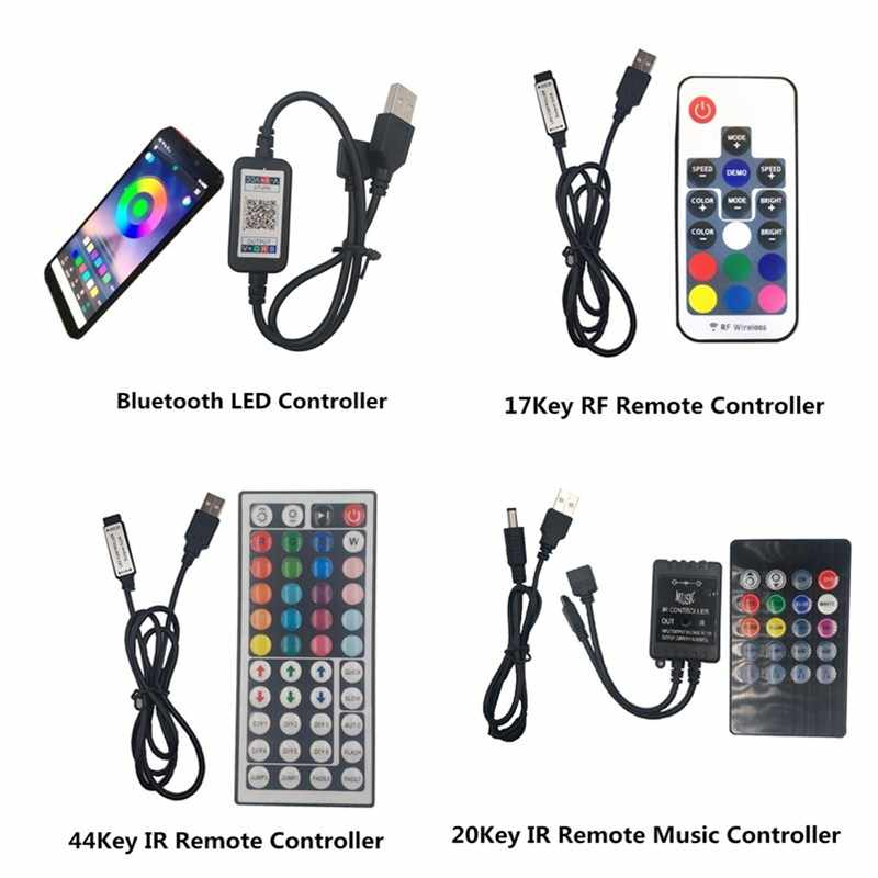 USB LED Strip 5050 RGB Flexible Lampu LED DC5V RGB Warna Berubah TV Pencahayaan Latar Belakang