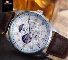 Tevise relógio mecânico pulseira de couro relógios de pulso homens de negócios da marca de moda à prova d' água preto branco horloge presente de aniversário