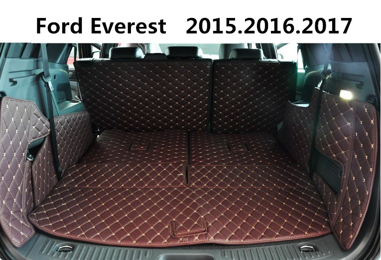 Auto Cargo Liner Trunk Mats For Ford Everest 2015.2016.2017 Surrounded by all Carpets High Quality Embroidery Leather Mat car rear trunk security shield cargo cover for volkswagen vw tiguan 2016 2017 2018 high qualit black beige auto accessories