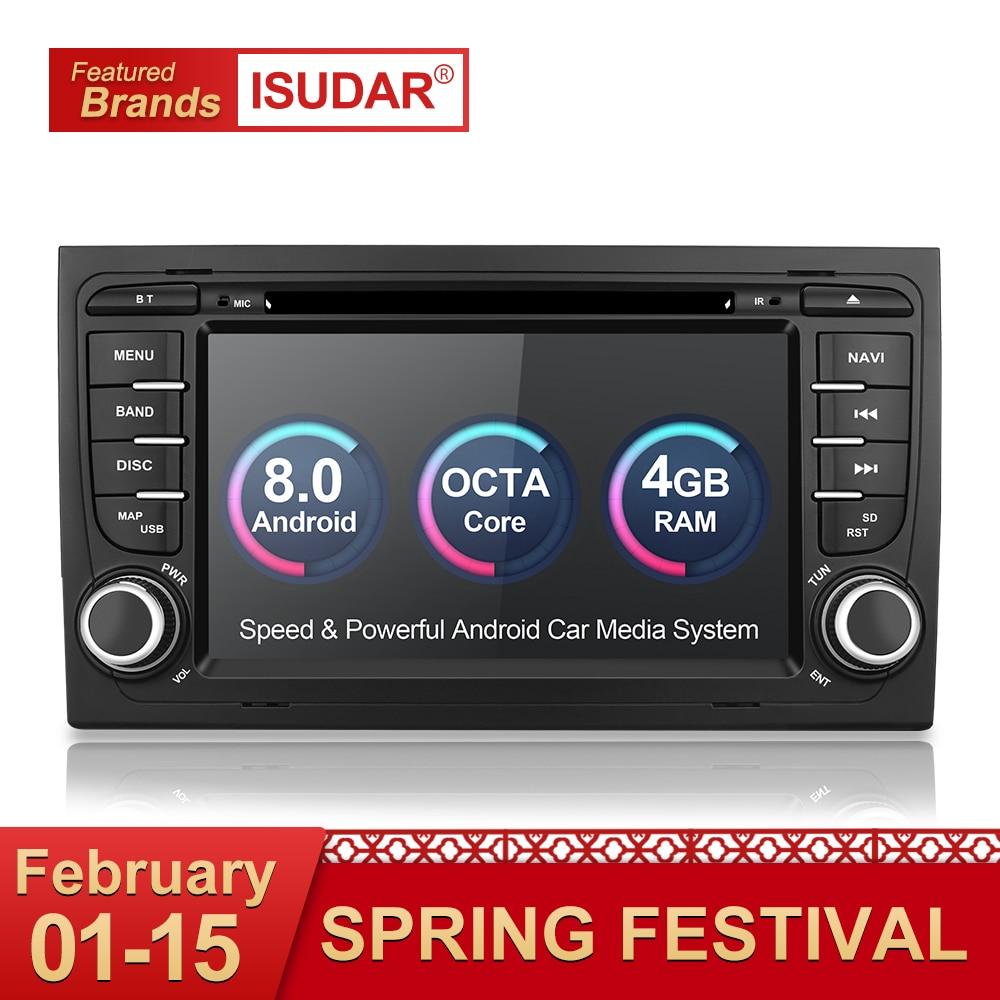 Isudar Автомагнитола с 7 Дюймовым Экраном 2 Din на Android 8.0.0 Для Автомобилей Audi/A4/S4 2002-2008 4GB RAM DSP DVR OBD2 FM