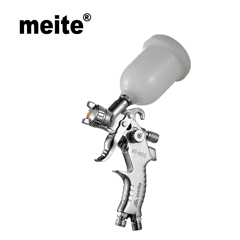 Meite MT-602G nozzle 0.6mm/ 0.8mm/1.0mm Gravity type mini spray gun HVLP with 100CC cup for small area coating Sep.3rd update мт mt gravity