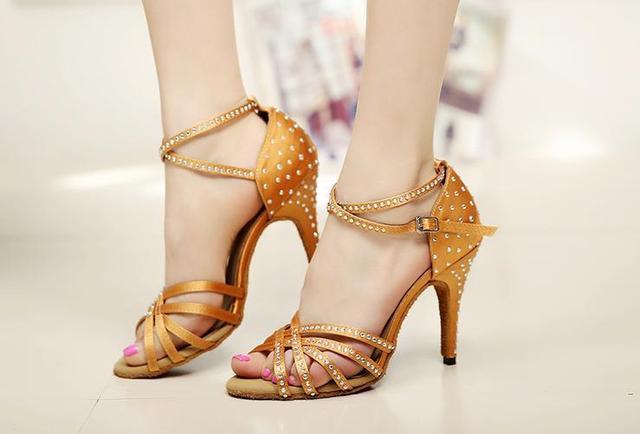 2017 Brand Bronze Black Satin Latin dancing shoes Women's Rhinestone companionship shoes Salsa Party Ballroom dancing shoes 10cm