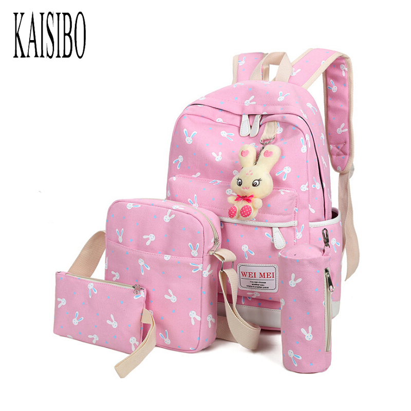 KAISIBO 4Pcs Sets Women Backpacks Cartoon Rabbit Printing School Backpack Canvas Schoolbags for Teenage Girls Students