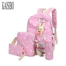 Kaisibo 4 шт./компл. Для женщин Рюкзаки мультфильм кролик печати Школьный Рюкзак Холст ранцы для подростков Обувь для девочек студентов сумка