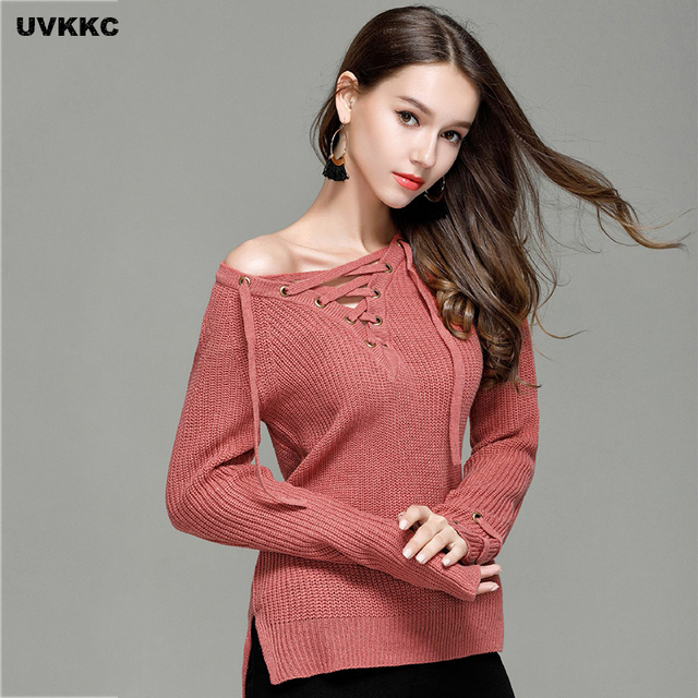 UVKKC Women Sweaters V Neck Knitted Pullover Women Bandage Ties Pullover  Loose Casual Long Knitted Sweaters Jumper Sweter Mujer aed66dde2