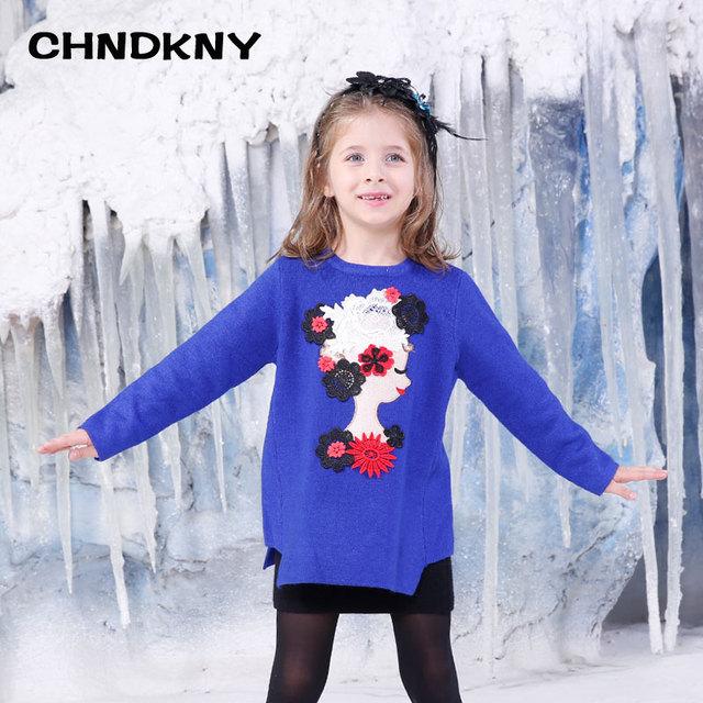 Niños vestidos para niñas de moda suéter bordado collar redondo applique vestido de punto suéter caliente del invierno de la chaqueta 2-8 años 3861