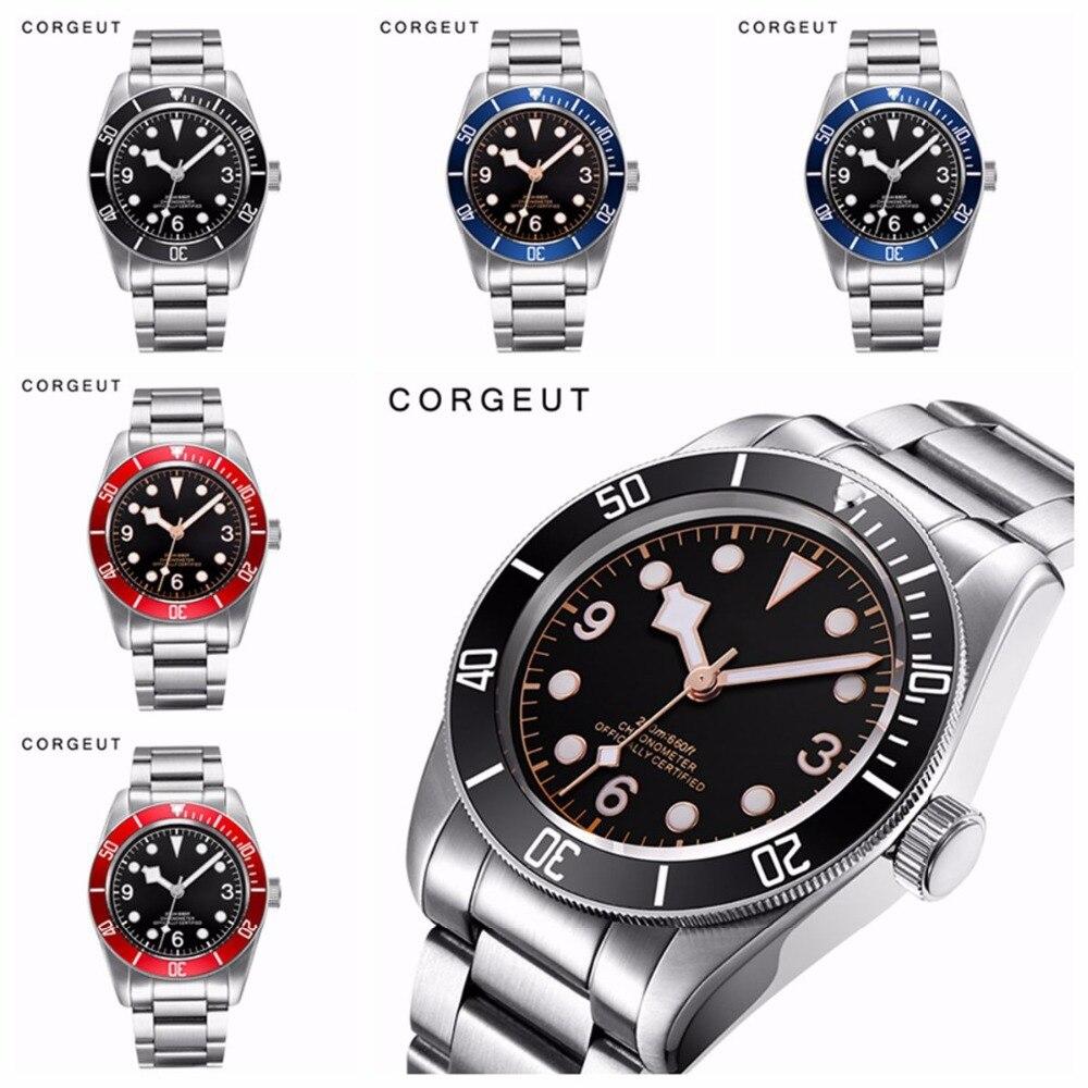Corgeut Mechanical Watch luminous sapphire Schwarz Bay Men Automatic Sport Swim Clock Luxury Brand male Mechanical
