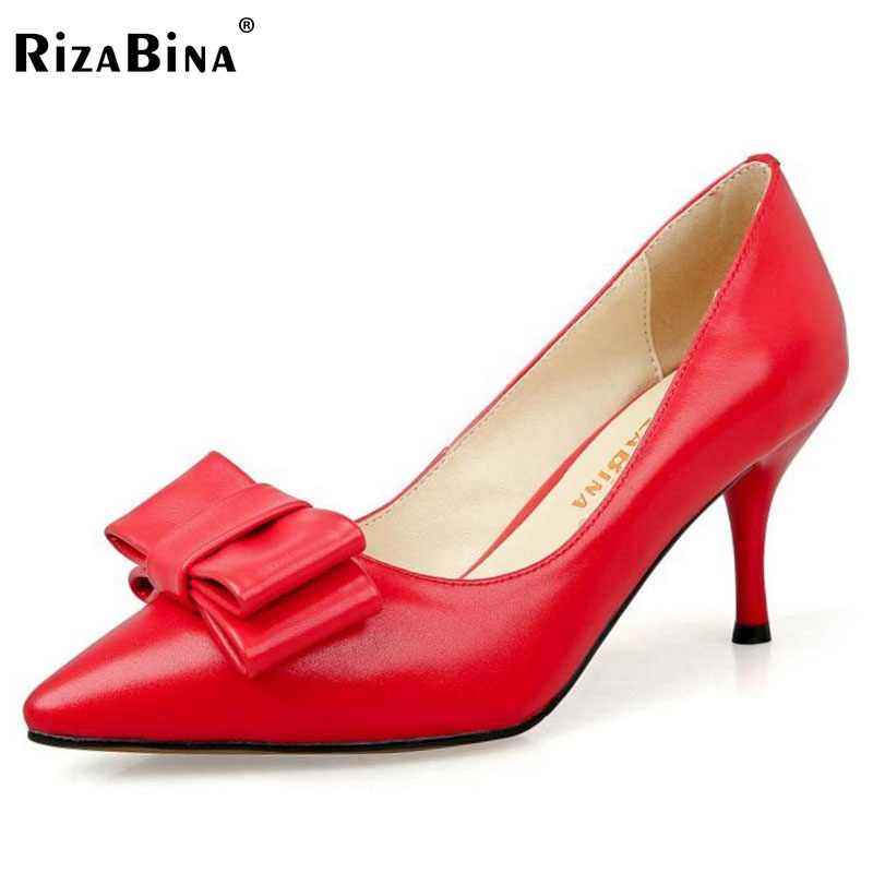 RizaBina Size 33-40 Ladies Real Leather Thin High Heels Pumps Women Sexy Pointed Toe Slip On Shoes Women Handmade Party Footwear odetina women sexy stiletto pointed toe high heels ladies party shoes slip on patent leather pumps flower printing big size 43
