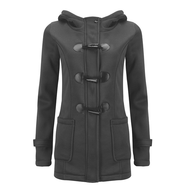Winter Women Hooded Wool Blend Classic Horn Buckle Leather Coat Women Fashion Sweatshirts