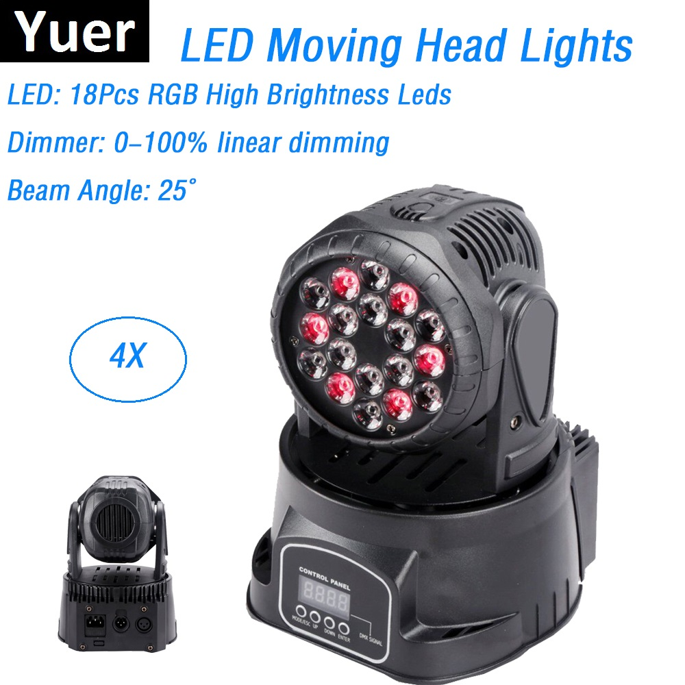 4XLot High Quality LED Mini Moving Head Wash Lights 18X3W RGB Moving Heads DMX 8/13 Channels Dj Nightclub Party Stage Lighting 110v 220v non stick commercial electric sweet donut machine 6pcs donut fryer waffle maker commercial cake machine free shipping