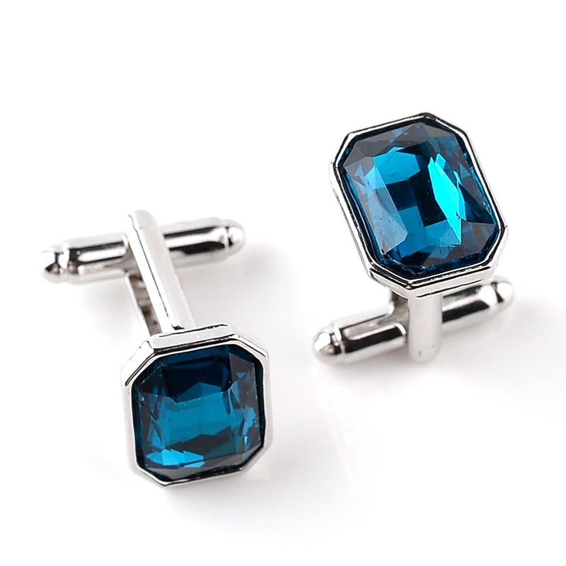Saia de Alta Qualidade Gema Azul Cristal abotoaduras Jóias Fecho com Strass Presentes Homens Jóias Frence Camisas Weeding Cuff Links
