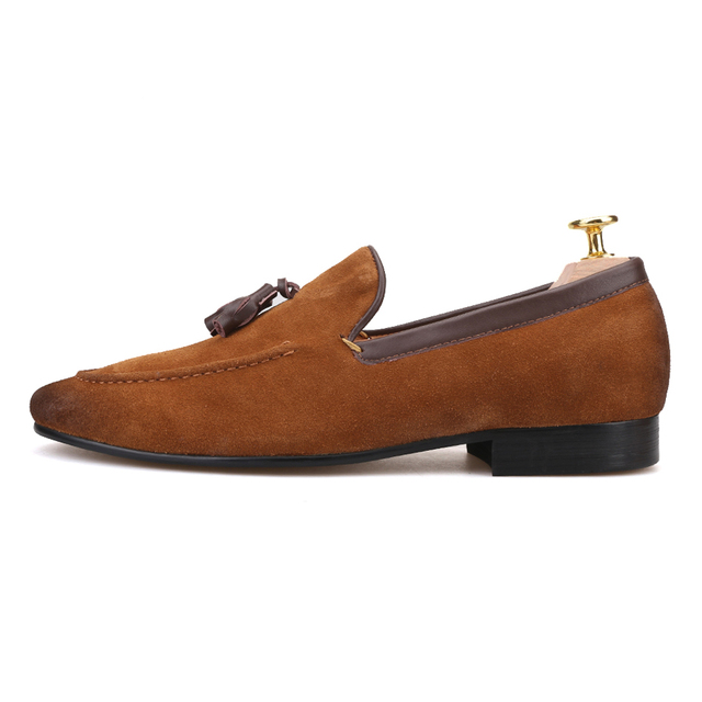 Black and Brown men suede shoes with leather tassel men handmade casual loafers 1