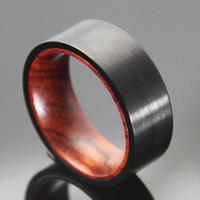 8mm Black Brushed Tungsten With Inner Red Wood Rings Mens Womens Wedding Band Comfort Fit Vintage