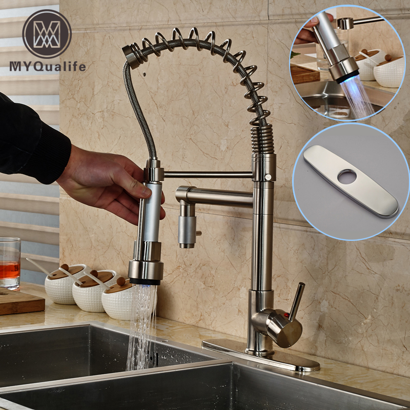 Single Lever LED Light Dual Rotation Spout Kitchen Faucet Deck Mount Brushed Nickel Mixer Taps + 8 Hole Cover swanstone dual mount composite 33x22x10 1 hole single bowl kitchen sink in tahiti ivory tahiti ivory