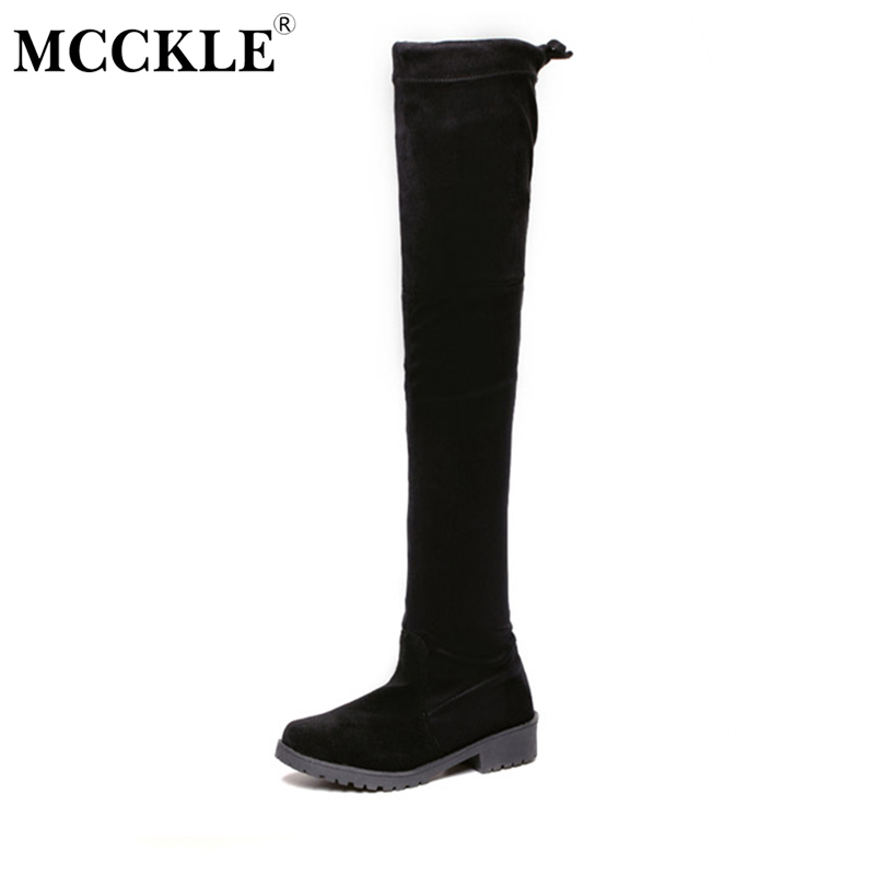 MCCKLE Woman Slim Flock Chunky Heel Slip On Rubber Over The Knee Boots Female Black Platform High Boots Ladies Style Shoes