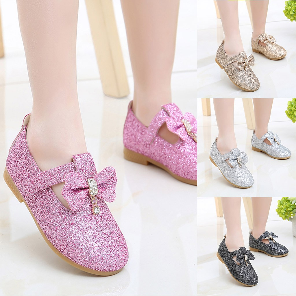 Kids Girls Bow-knot Sequins Princess School Dress Shoes Party Wedding Shoes