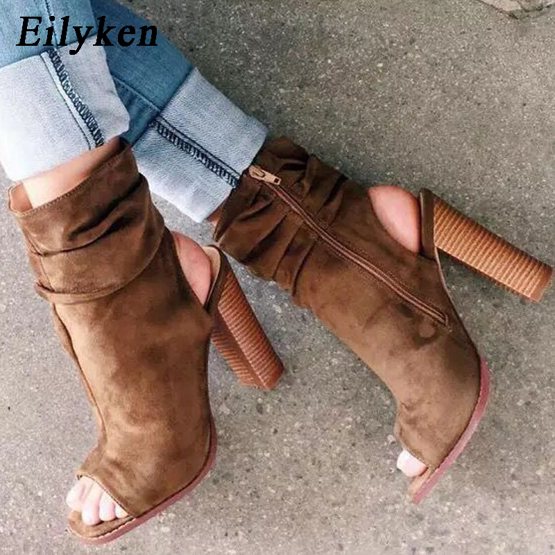 Eilyken New Ankle Boots For Womens Open Toe High Heels Fashi