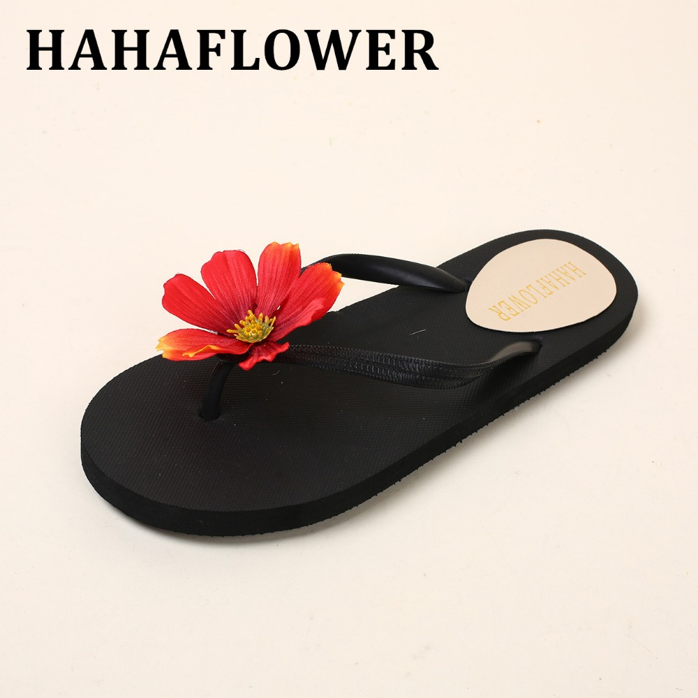 HAHAFLOWER  2017 Women Summer Flip Flops Beach Sandals Slippers Fashion Bohemia Shoes Flowers flat Slippers excellent quality free shipping new 1pair summer shoes fashion women sandals beach flat wedge flip flops lady slippers