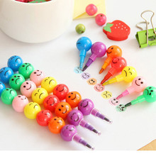 7 Colors Crayons Creative Sugar Coated Haws Cartoon Smile Graffiti Pen Stationery Gifts For Kids Wax