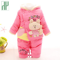 HH Infant Baby Girl Winter Clothes Keep Warm Newborn Set Cartoon Rabbit Two Piece Sets Cotton