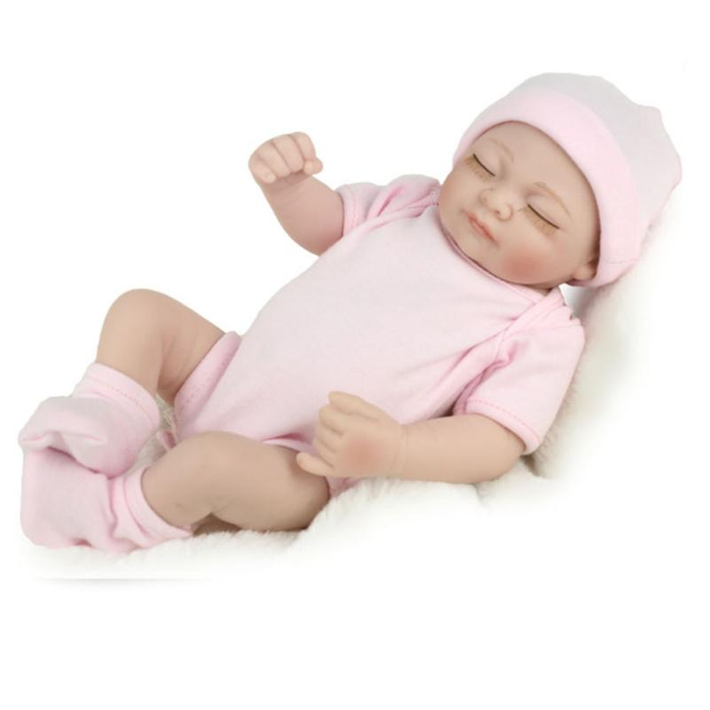 28cm Lovely Silicone Reborn Baby Dolls Lifelike Simulation Doll for Girls White Born Bab ...