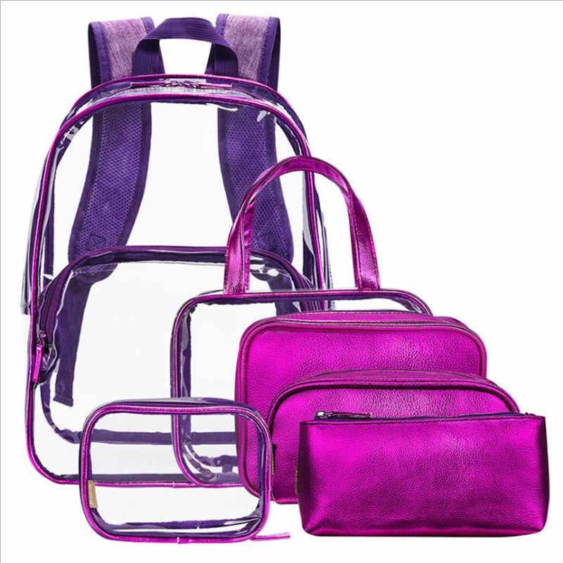 Женский прозрачный рюкзак из ПВХ для взрослых и студентов, прозрачный рюкзак для книг, повседневный рюкзак, 6 шт./компл., сумки для женщин