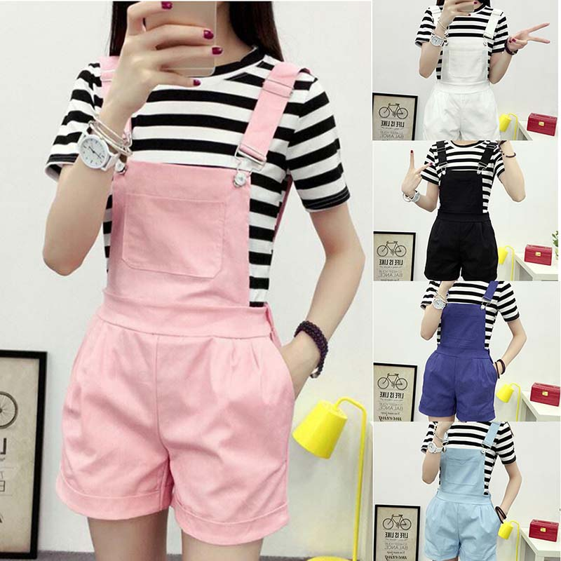 2019 New Denim Overalls Women Summer Lovely Jumpsuits Spring Denim Jeans Overalls Shorts Female Pink/white Overall Jumpsuit