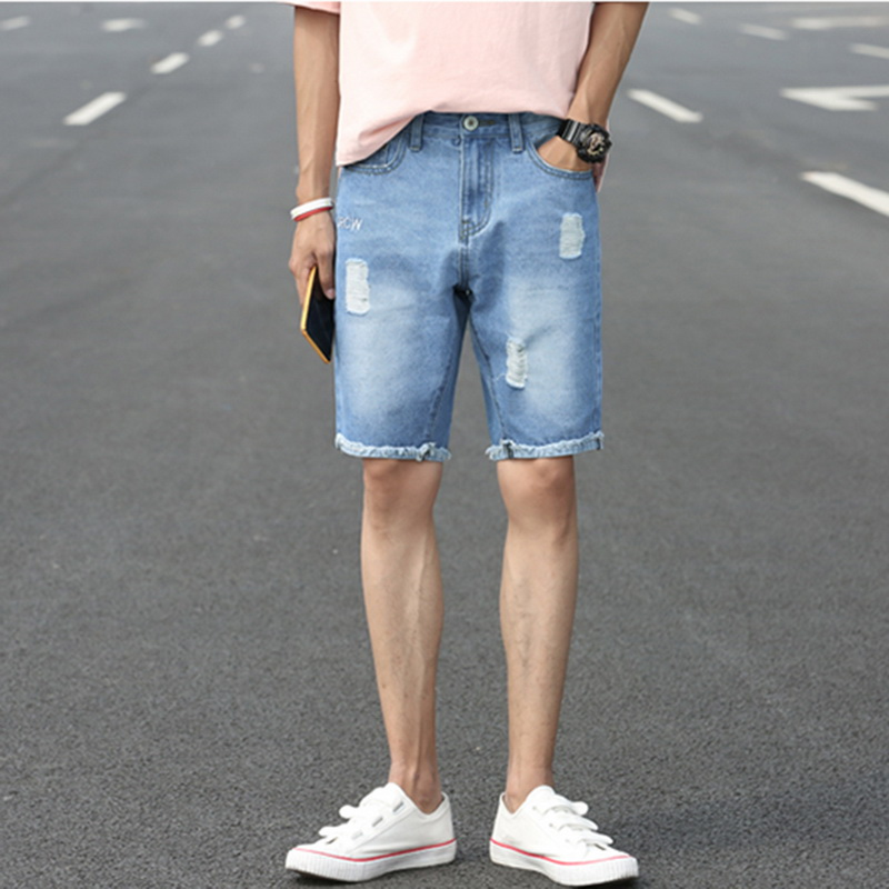 CALOFE 2018 Newest Males Knee-length Short Jeans Hole Worn Summer Straight Pants Mid-waist Casual Jeans Plus Size Trousers
