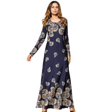 #1865451# Euramerica Printed Long Skirt Splicing Hooded Sleeve Slim Fit Dress Middle East Vestidos Mujer