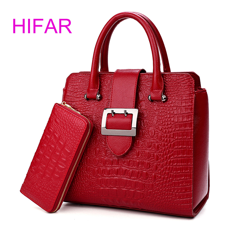 2017 Two sets Handbag High Quality Women Messenger Bags for Women Luxury Leather Shoulder Bag Crocodile pattern Handbag 2015 european and american brand women handbag shoulder bag crocodile pattern handbag handbag messenger bag rse wallet 6 sets