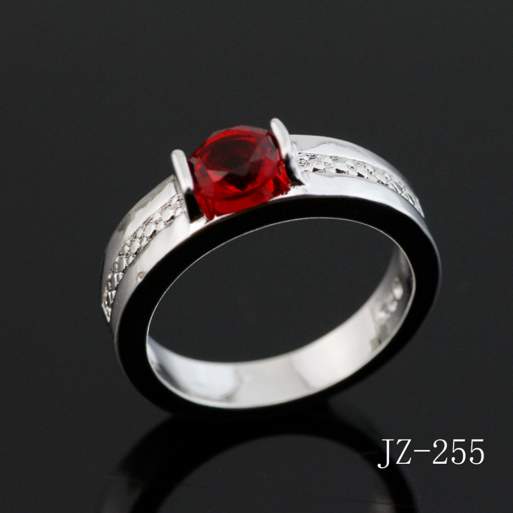 2017 Free shipping jewelry Ring Fashion simple red crystal popular silver ring Embedded contracted ring and