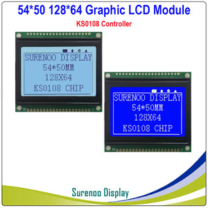 54X50MM Graphic Matrix LCD Module Display Screen 12864 build-in KS0108 Controller Gray Blue with White LED Backlight