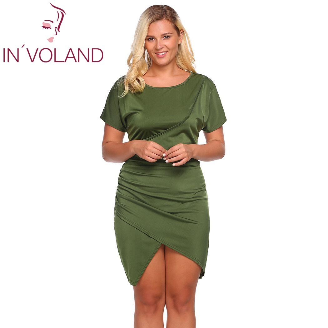 US $16.93 46% OFF|IN\'VOLAND Women\'s Dress Plus Size Batwing Sleeve Draped  Solid Party Split Faux Wrap Dresses Feminino Vestiodos Mujer Plus Size-in  ...